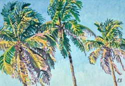 Swaying Palms by Leila Barton - Original Painting, Canvas on Board sized 26x18 inches. Available from Whitewall Galleries